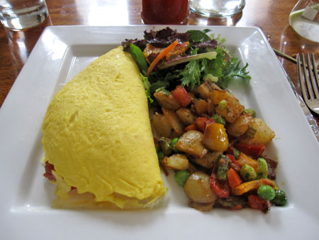 Sarah's omelet with brie, vegetables