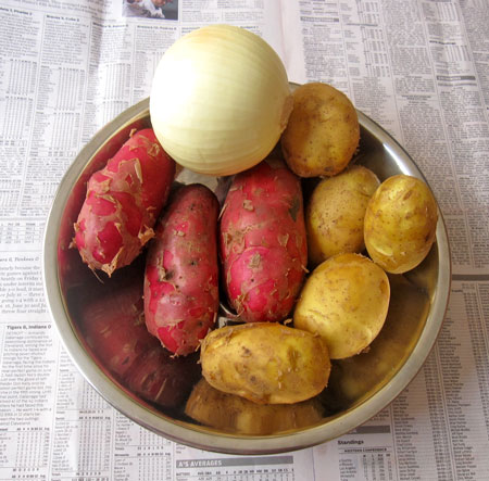 French Potatoes, German Butterball Potatoes, onion