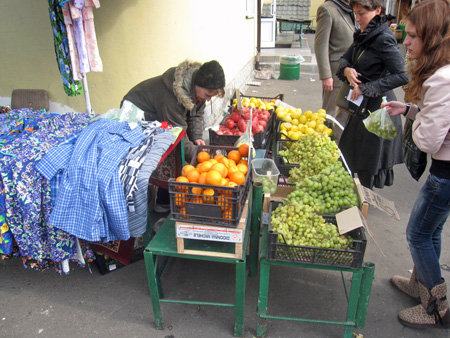 market clothes and fruit