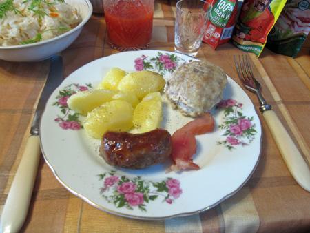 potato, sausage and rice meatball - yum