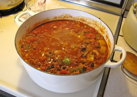 add your tomatoes, bring to bubbly and simmer