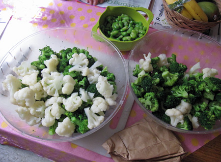 cauliflower broccoli favas blanched and prepped to pack