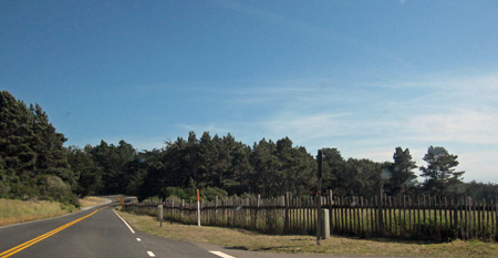 the famous sea ranch fence stretching over 10 miles along Route 1