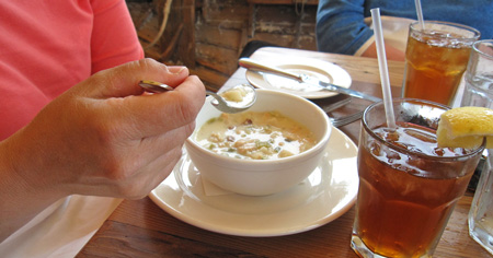 Alison said the clam chowder was the best she ever tasted