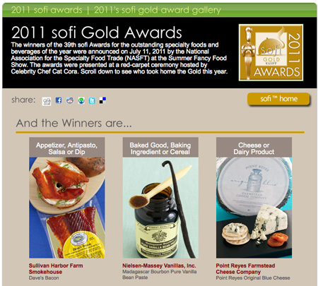 Pt Reyes Fancy Food Show Award on right