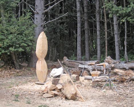 take a hunk of wood, chip away