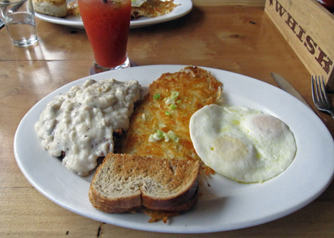 chicken fried steak and egg... next time, we'll order one and split it