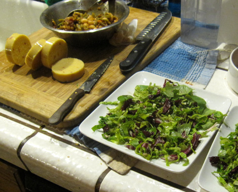 bean salad, polenta slices, lettuce plate