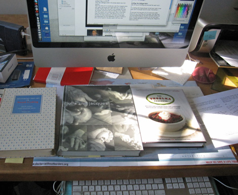 my desk with source books