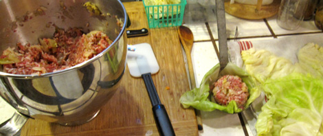 making the first cabbage roll